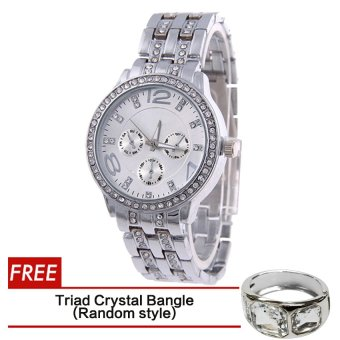 Geneva SY-13 Fashion Women's Silver Stainless Steel Strap WatchWith Free Triad Crystal Bangle Silver