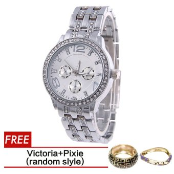 Geneva SY-13 Fashion Women's Silver Stainless Steel Strap WatchWith Free Victoria Gold Bangle and Pixie Bangle Riley