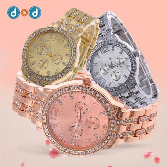 Geneva SY-13 Women's Stainless Steel Strap Watch Set of 3 (Silver/Gold/Rosegold) - 2