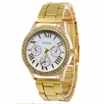 Geneva SY-3 Roman Numerals Women Stainless Steel Watch (Gold/White)