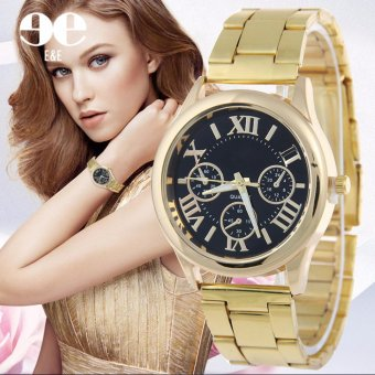 Geneva SY-3 Roman Numerals Women's Gold Steel-belt Watch (Black)