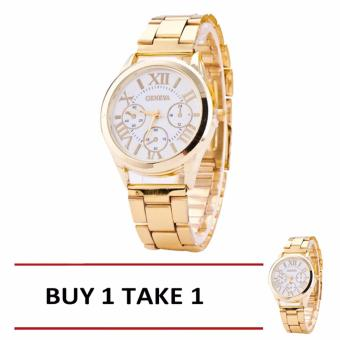 Geneva SY-3 Roman Numerals Women's Gold/White Steel-belt Watch - ORIGINAL BUY 1 TAKE 1