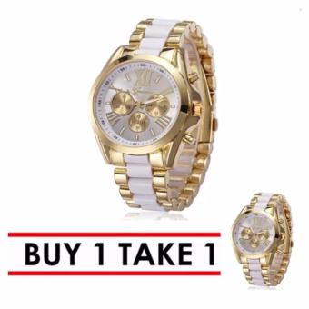 Geneva Three Eyes Strip Women's Two-Tone Stainless Steel Strap Watch 179 Buy 1 Take 1