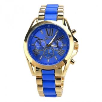 Geneva Three Eyes Strip Women's Two-Tone Stainless Steel Strap Watch 179 (Gold/Blue)