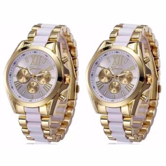 Geneva Three Eyes Strip Women's Two-Tone Stainless Steel Strap Watch 179 (Gold/White) SET OF 2