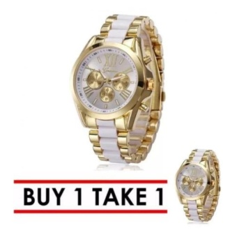 Geneva Three Eyes Strip Women's Two-Tone Stainless Steel Strap Watch (White) Buy 1 Take 1