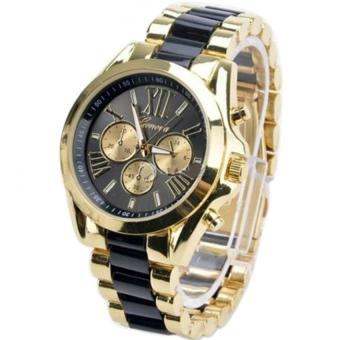 Geneva Three Eyes Strip Women's Two-Tone Stainless Steel StrapWatch 179 (Gold/Black) Set Of 3 - 2