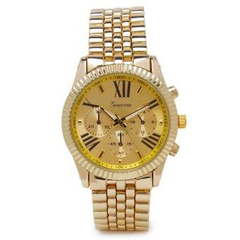 Geneva Unisex Gold Metal Strap Watch GENV-154-GLD-ROMAN