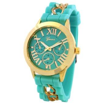 Geneva Victoria Women's Silicone Strap Watch (Mint Green) - 2