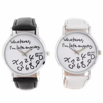 Geneva Whatever I'm Late Anyway Statement Watch Set of 2 (Black/White)
