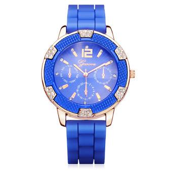 Geneva Women Crystal Dial Round Silicone Wrist Watch