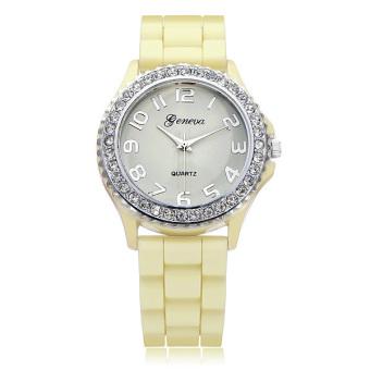 Geneva Women Silicone Crystal Round Quartz Wrist Watch