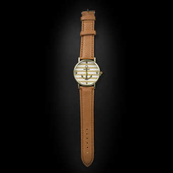 Geneva Women's Casual Watch Anchor Stripes Brown Leather Strap GE004C