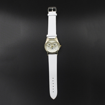 Geneva Women's Casual Watch Cat White Leather Strap GE007Q - 2