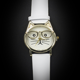 Geneva Women's Casual Watch Cat White Leather Strap GE007Q