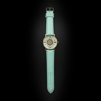 Geneva Women's Casual Watch Small Feather Mint Green Leather Strap GE023E - 2