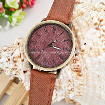 Geneva Women's Classic Minimalist Casual Denim Style Leather Colored Strap Watch