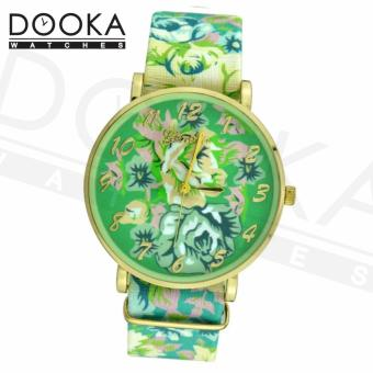 Geneva Women's Green Roses Floral Leather Strap Watch