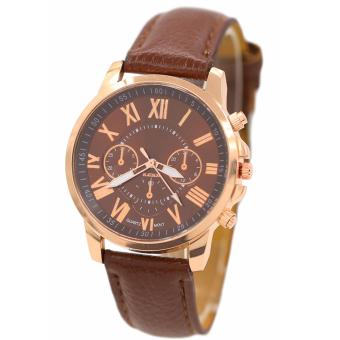 Geneva Women's Roman Brown Leather Strap Watch