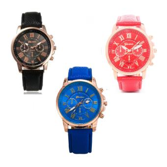 Geneva Women's Roman Leather Strap Watch Black/Red/Blue
