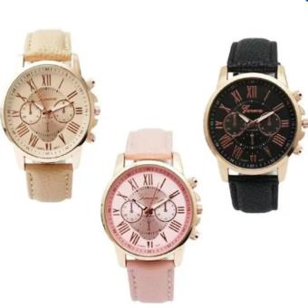 Geneva Women's Roman Leather Strap Watch Pink/Beige/Black