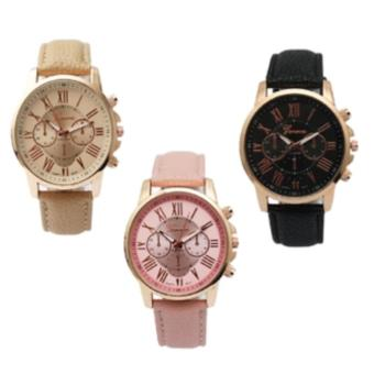 Geneva Women's Roman Leather Strap Watch (Pink/Beige/Black) Set of 3