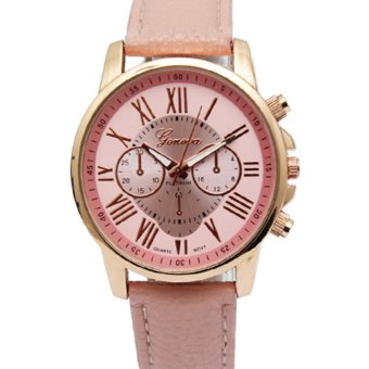 Geneva Women's Roman Pink Leather Strap Watch Grnor-1