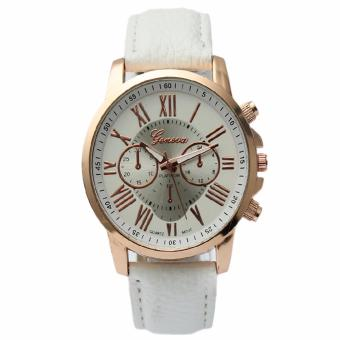 Geneva Women's Roman White Leather Strap Watch