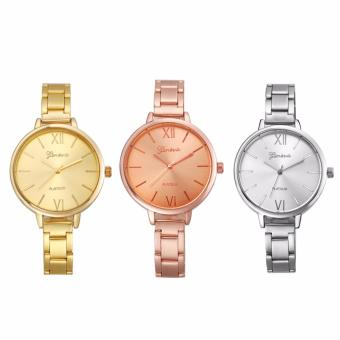 Geneva Women's Set of 3 Thin Strap Minimalist Silver Gold and Rose Gold Stainless Steel Watch