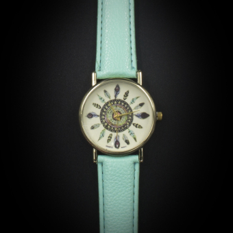 Geneva Women's Casual Watch Small Feather Mint Green Leather StrapGE023E Price Philippines