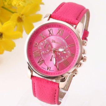 Geneva Women's Fashion Watch Faux Leather Watch (Hot Pink)