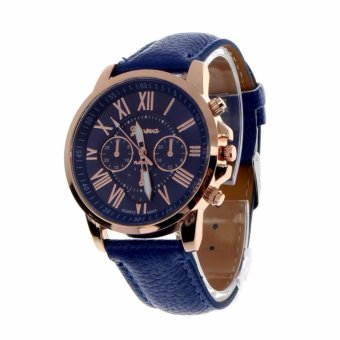 Geneva Women's Fashion Watch Roman Numerals Faux Leather Watch(Blue)