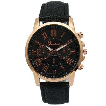 Geneva Women's Roman Black Leather Strap Watch GRNBLK-1