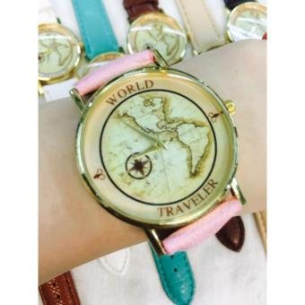 Geneva World Traveler Vintage Compass Design Watch (Baby Pink)