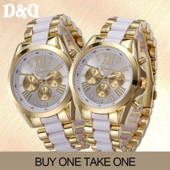 GENEVASY-10 Women's Two-Tone Stainless Steel Strap Watch Buy One Take One