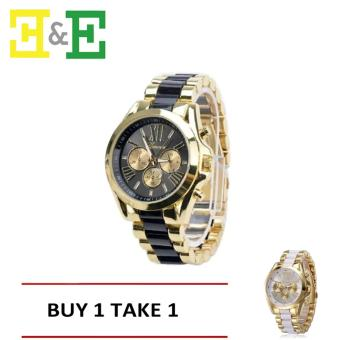 GENEVASY-10 Women's Two-Tone Stainless Steel Strap Watch(Black)With Free White one Price Philippines