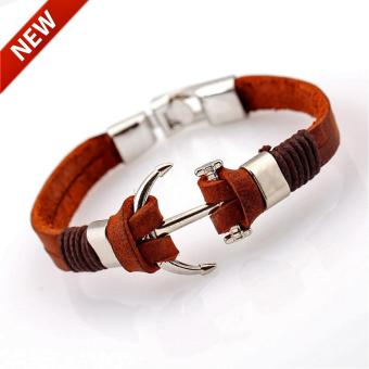 Genuine Brown Leather Anchor Bracelet