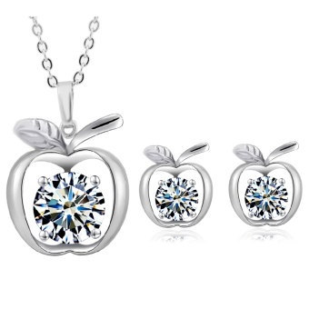 Glamluxury Apple Cubic Zirconia Jewellery Set (Silver Plated 925) - picture 2