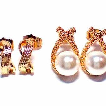 Glamorosa 2 In 1 Infinity And Pearl Earrings