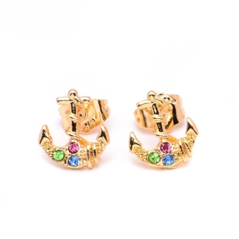 Glamorosa Anchor in Multi Gem Stud Earrings (Gold)