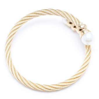 Glamorosa Cable Wire With Pearl Bangle (Gold)