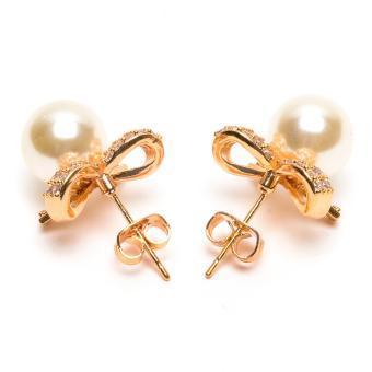 Glamorosa Creative Bow Tie Diamond Stud Pearl Earrings in Gold - 3