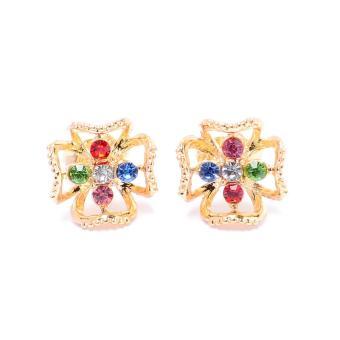 Glamorosa Dogwood Flower in Multi Gem Stud Earrings (Gold) Buy 1Take 1 - 2