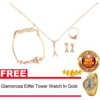 Glamorosa Eiffel Tower in Multi Gemstone Accessories Set (Gold) with Free Glamorosa Eiffel Tower Watch in Gold