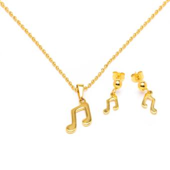 Glamorosa Eighth Notes Necklace and Earrings Set (Gold)