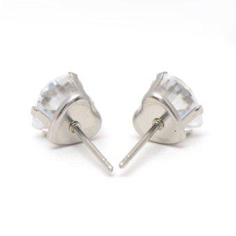 Glamorosa Huge Diamond Heart Shape Earrings (Silver) - 2