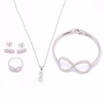 Glamorosa Huge Infinity Accessories Set with Bangle (White Gold)