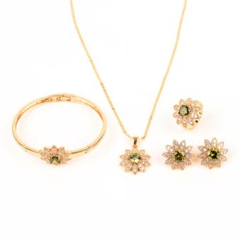 Glamorosa Huge Nature Green Sun Flower Accessories Set With Bangle in Gold Price Philippines