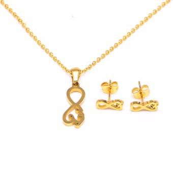 Glamorosa Infinity Love Necklace and Earrings Set (Gold)