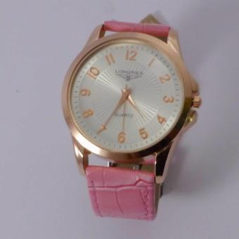 Glamorosa Longines Sinister Leather Rugged Strap Watch (Pink/Gold)